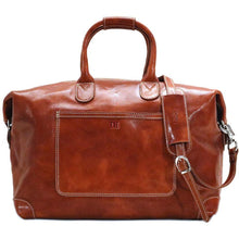 Load image into Gallery viewer, Leather Duffle Travel Bag Floto Chiara olive brown monogram