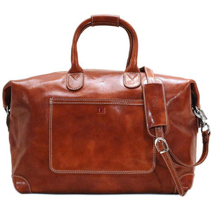 Leather Duffle Travel Bag Floto Chiara olive brown monogram