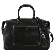 Load image into Gallery viewer, Leather Duffle Travel Bag Floto Chiara black monogram