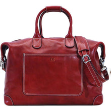 Load image into Gallery viewer, Leather Duffle Travel Bag Floto Chiara red monogram
