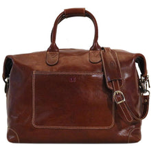 Load image into Gallery viewer, Leather Duffle Travel Bag Floto Chiara brown monogram
