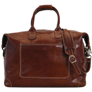 Leather Duffle Travel Bag Floto Chiara brown monogram