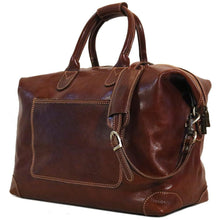 Load image into Gallery viewer, Leather Duffle Travel Bag Floto Chiara brown side