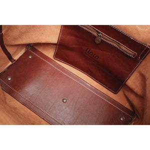 Leather Duffle Travel Bag Floto Chiara brown inside