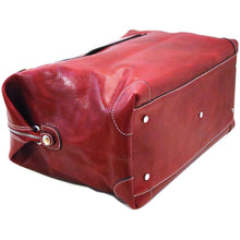 Load image into Gallery viewer, Leather Duffle Travel Bag Floto Chiara red bottom