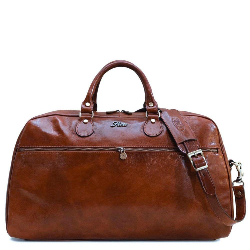 Floto Italian Leather Gym Sport Duffle Bag Weekender brown