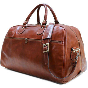 Floto Italian Leather Gym Sport Duffle Bag Weekender brown 2
