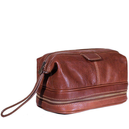 Floto Italian Roma leather dopp kit toiletry bag brown