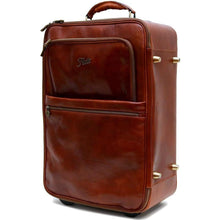 Load image into Gallery viewer, leather rolling luggage floto