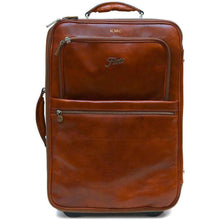 Load image into Gallery viewer, leather rolling luggage floto monogram