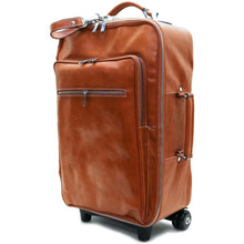 Load image into Gallery viewer, Leather Rolling Luggage Floto Venezia Trolley olive brown