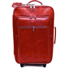 Load image into Gallery viewer, Leather Rolling Luggage Floto Venezia Trolley red monogram