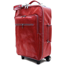 Load image into Gallery viewer, Leather Rolling Luggage Floto Venezia Trolley red