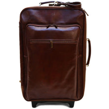Load image into Gallery viewer, Leather Rolling Luggage Floto Venezia Trolley brown monogram
