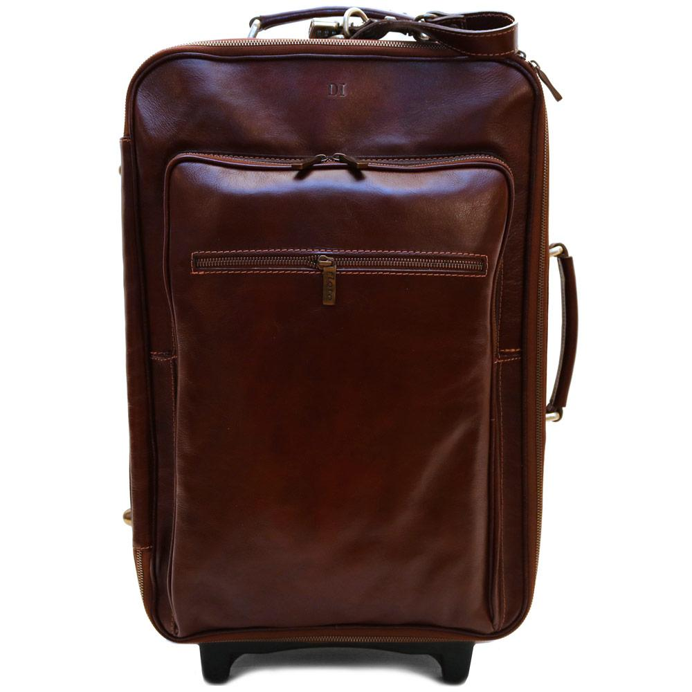 Leather Rolling Luggage Floto Venezia Trolley brown monogram