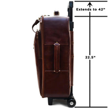 Load image into Gallery viewer, Leather Rolling Luggage Floto Venezia Trolley measurements