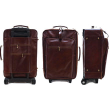 Load image into Gallery viewer, Leather Rolling Luggage Floto Venezia Trolley views