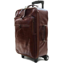 Load image into Gallery viewer, Leather Rolling Luggage Floto Venezia Trolley Vecchio Brown