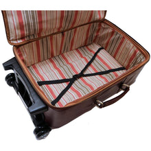 Load image into Gallery viewer, Leather Rolling Luggage Floto Venezia Trolley inside
