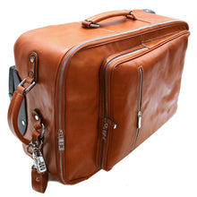 Load image into Gallery viewer, Leather Rolling Luggage Floto Venezia Trolley side