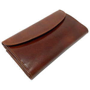 Italian Leather Checkbook Wallet Floto Firenze with Change Pouch brown 2