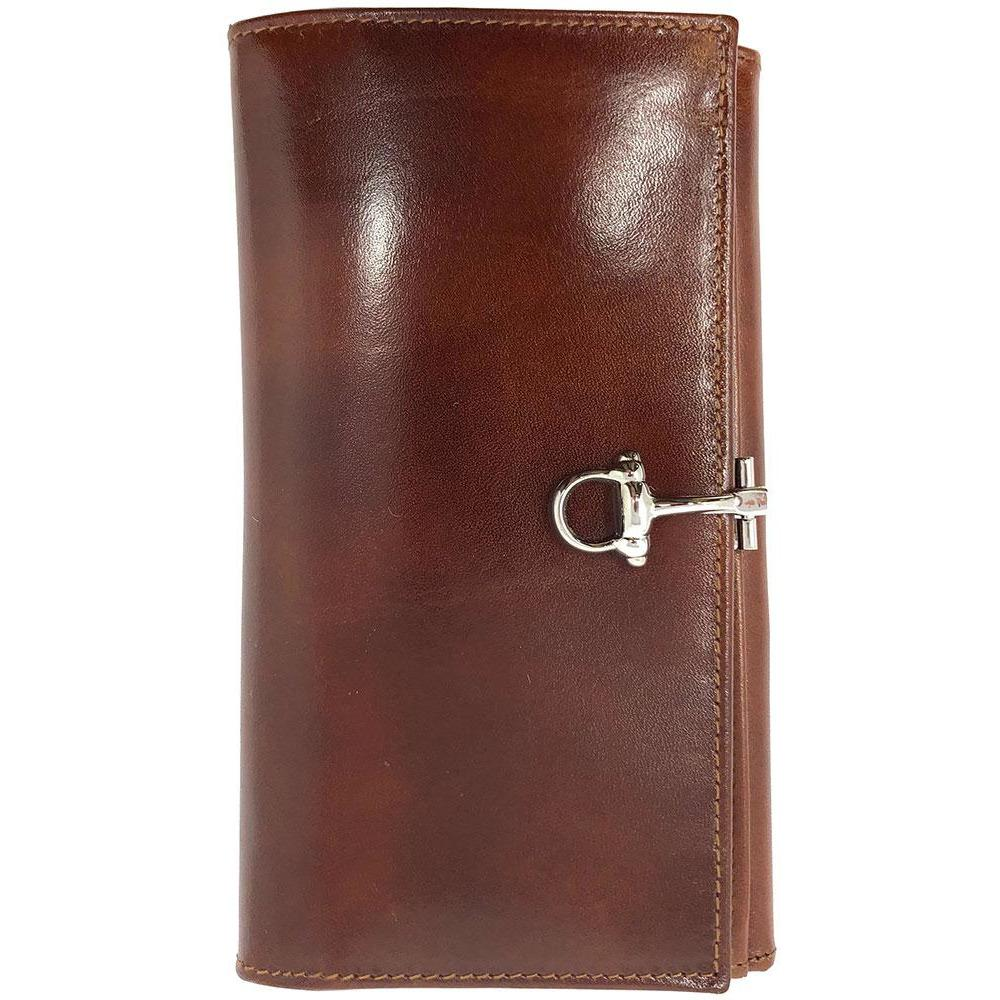 Italian Leather Checkbook Wallet Floto Firenze with Change Pouch brown