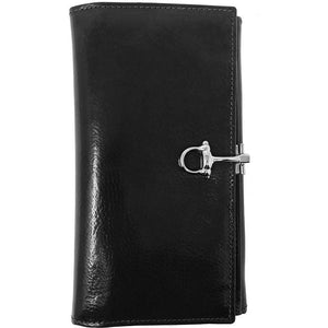 Italian Leather Checkbook Wallet Floto Firenze with Change Pouch black