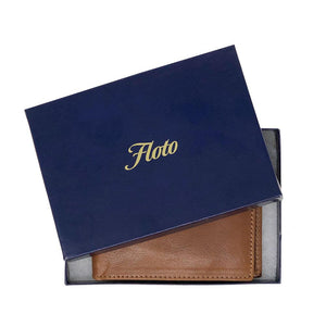 Floto Italian Leather Billfold Wallet Roma Brown Packaging