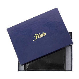 Floto Italian Leather Wallet Billfold Card Case Milano packaging Black