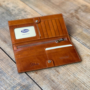 Leather Snap Wallet Long Checkbook Floto Roma Brown 4