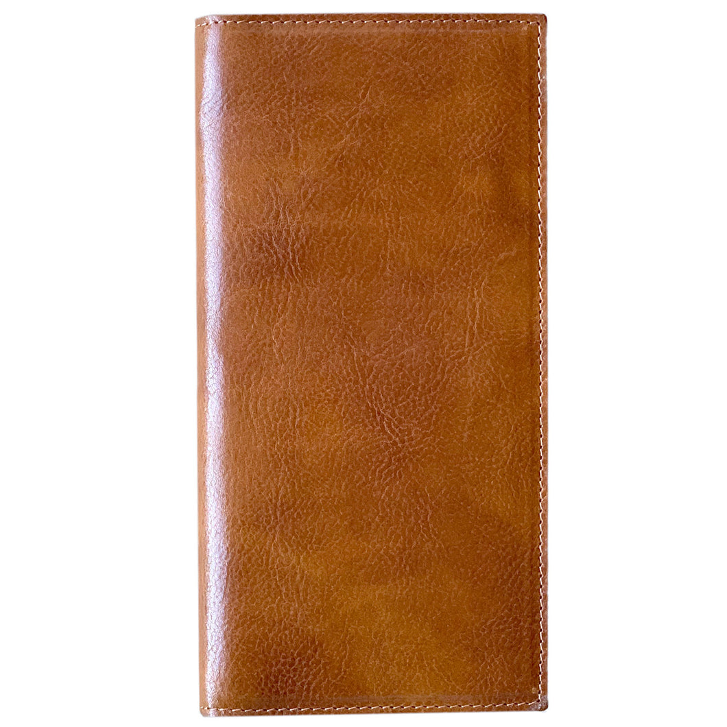 Leather Snap Wallet Long Checkbook Floto Roma Brown