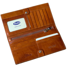 Load image into Gallery viewer, Leather Snap Wallet Long Checkbook Floto Roma Brown 2