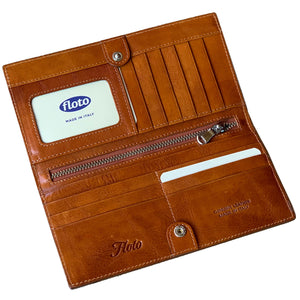Leather Snap Wallet Long Checkbook Floto Roma Brown 2
