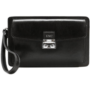 Leather Wristlet Handbag Floto black monogram