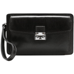 Leather Wristlet Handbag Floto black