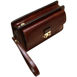 Leather Wristlet Handbag Floto brown