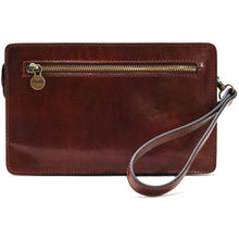 Load image into Gallery viewer, Leather Wristlet Handbag Floto brown back