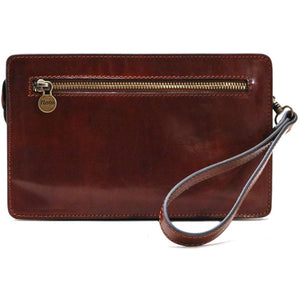 Leather Wristlet Handbag Floto brown back