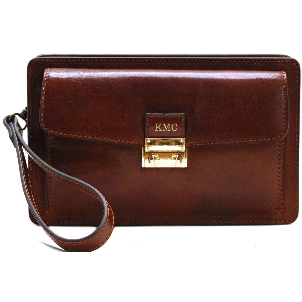 Leather Wristlet Handbag Floto brown monogram