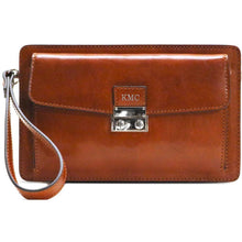 Load image into Gallery viewer, Leather Wristlet Handbag Floto olive monogram