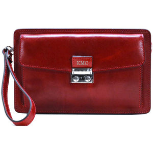 Leather Wristlet Handbag Floto red monogram