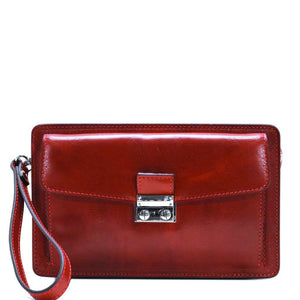 Floto Italian Leather Wristlet Handbag Purse Firenze red