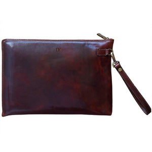 Leather Portfolio Organizer Document Sleeve Floto Portofino monogram brown