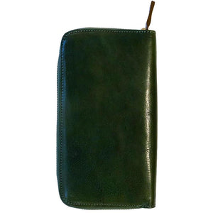 Floto Leather Long Zip Wallet greem