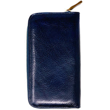 Load image into Gallery viewer, Floto Leather Long Zip Wallet navy blue