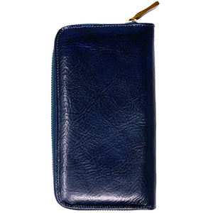 Floto Leather Long Zip Wallet navy blue