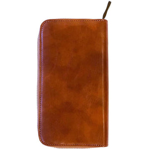 Floto Leather Long Zip Wallet in Olive Honey Brown