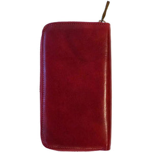 Floto Leather Long Zip Wallet red