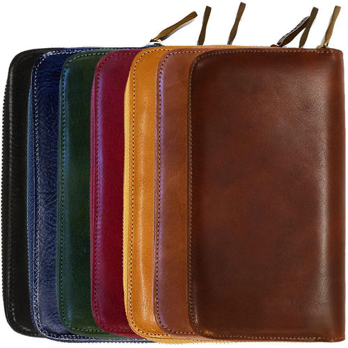 leather zipper wallet floto venezia brown, yellow, red, blue, black, green