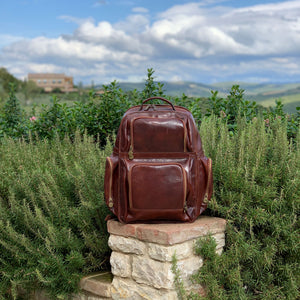 Leather Backpack Floto Italian Cargo Pocket Knapsack Military Pack brown 8